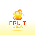 fresh fruit drink bar logo icon flat juice vector image
