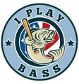 Largemouth bass playing baseball bat vector image