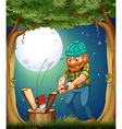 A forest with a hardworking woodman chopping woods vector image