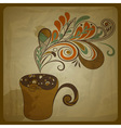 retro concept composition with cup of coffee vector image vector image