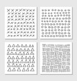 cards with hand drawn hipster patterns monochrome vector image