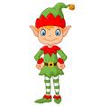 Cartoon Cute Christmas elf posing vector image