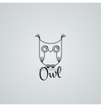 Lined owl logo or emblem in line style vector image