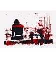 paint girl sitting back red vector image