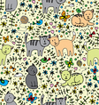 seamlessly pattern with cats vector image