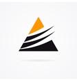 Unusual triangle logo in black and orange colors vector image