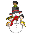 Children playing with a snowman vector image vector image
