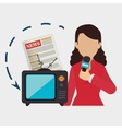woman tv reportage news vector image
