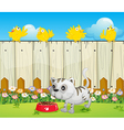 A white cat with a dog food and four yellow birds vector image vector image