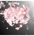 Heart made of pink flower petals EPS 10 vector image