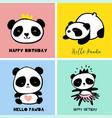 cute panda bears simple style cards posters vector image