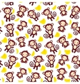 seamless pattern with funny brown monkey yellow vector image