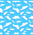Seamless pattern white clouds on blue background vector image