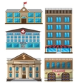 set of flat buildings decorative icons vector image