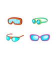 sport glasses icon set cartoon style vector image