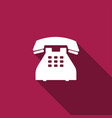 telephone icon isolated with long shadow vector image