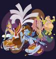 set of isolated hindu gods meditation in yoga vector image