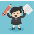 business woman holding pencil and paper vector image