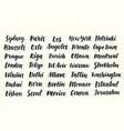 city names hand written brush calligraphy big set vector image