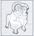 Hand drawn lined monochrome of heterosexual vector image