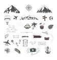 travel set of objects for tourism vector image