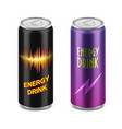 two aluminum cans of energy drink vector image
