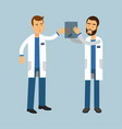 two males doctor characters in uniform examining vector image