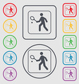 Tennis player icon sign symbol on the Round and vector image