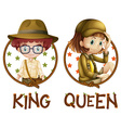 Boy and girl in safari outfit vector image
