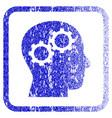 brain gears framed textured icon vector image