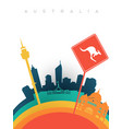 travel australia 3d paper cut world landmarks vector image