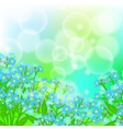 Card with forget me not flowers on sun light vector image
