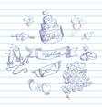 Sketch of wedding design elements vector image vector image