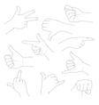 Hands in different gestures and interpretations vector image vector image