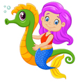 Cartoon happy mermaid swimming with seahorse vector image vector image