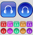 headphones icon sign A set of twelve vintage vector image