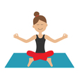Young girl do yoga Cute cartoon woman character vector image
