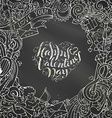 Chalk Happy Valentines Day background vector image