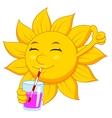 Sun cartoon character drinking vector image