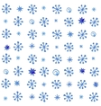 Watercolor seamless pattern with blue snowflakes vector image