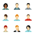 Types of avatar icons set flat style vector image