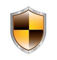 metallic shield with colorful rhombus shape vector image