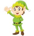 Cartoon Cute Christmas elf waving hand vector image vector image