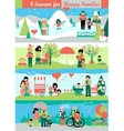 Banners Set with people and Seasons Landscapes vector image