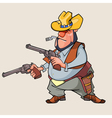 cartoon man is a thug with guns vector image
