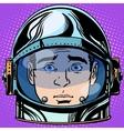 emoticon surprise Emoji face man astronaut retro vector image