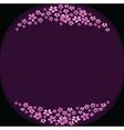 Floral frame with violet flowers on dark violet vector image