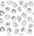 Hand drawn seamless pattern with cute faces vector image