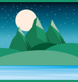 night landscape mountains hills moon and sky vector image