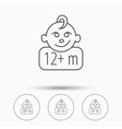 Infant child and toddler baby icons vector image